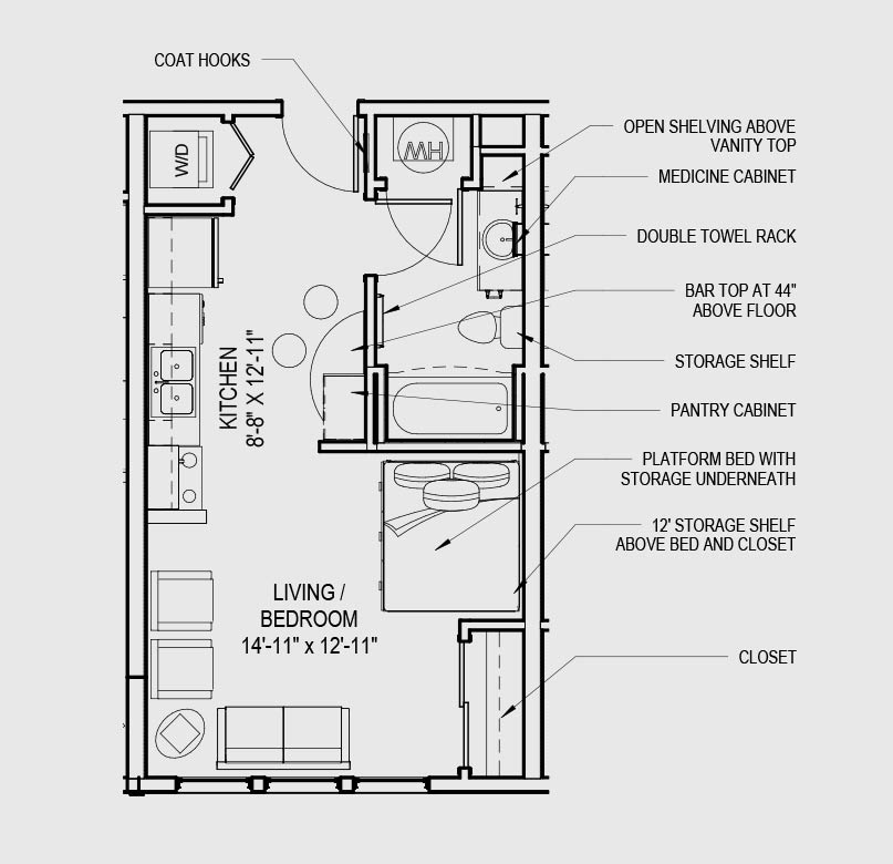 Studio apartment plan best 25 studio apartment floor for Efficiency apartment floor plans