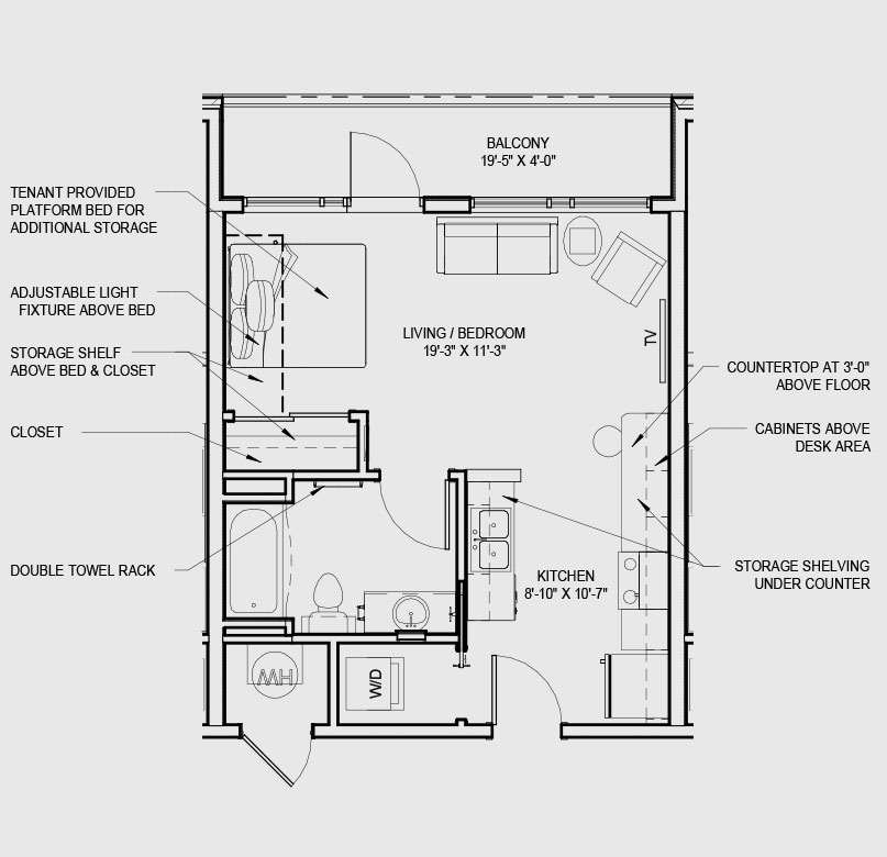 Studio Apartments B Floorplan